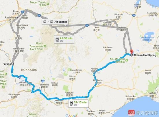 富良野距离阿寒湖221公里,无论何种方式,都需要数个小时